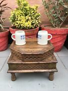 Antique Rare Wooden Hand Carved Brass Work Coffee Table With Box Bajot Low Table