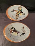 Stangl Pottery 3926h Wood Duck And 3926 Green Wing Teal Ash Tray Pair