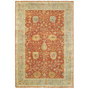 Red Traditional-european Hand Knotted Bulbs Petals Vines Area Rug Floral 10306