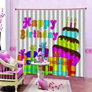 Big Cake Candle Gift Printing 3d Blockout Curtains Fabric Window Home Decor
