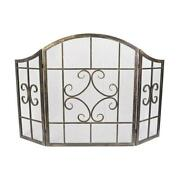 Fireplace Screen Brushed Bronze Steel 3panel Scroll Durable Accessory Adjustable