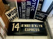 Vintage Ny Nyc Subway Roll Sign Large Broadway Theater Arts Brooklyn Express 14