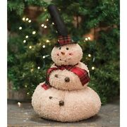 New Country Primitive Folk Grungy Jingle Bell Snowman Doll Christmas Figure 19