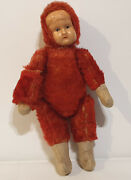 Vintage Toys 1930/40and039s Celluloid Girls Face Teddy Bear With Red Mohair Sk
