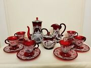 Salviati Venetian Glass Ruby Red White Enamel 17pc Set With Documents Must See