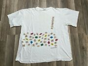 Vintage 90and039s Scrabble Milton Bradley Board Game Letters All Over White Tee Xl