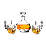 27 Oz Crafted Liquor Decanter W/ 4pcs 11 Oz Whiskey Glass Lead Free Crystal