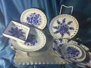 7 Pierced Edges Unmarked Flow Blue Wall Plates And Square Small Trays Ceramic