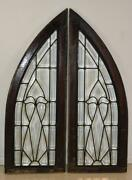 Pair Vintage Arched Beveled Glass Windows Circa 1910