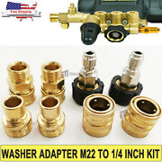 8 Pcs Pressure Washer Adapter Garden Hose Quick Connect Fittings M22 To 3/8 Kit