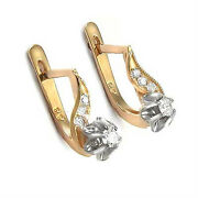 Girls Childrenand039s Russian Style Diamond Earrings .28 Cwt 14k Rose And W/ Gold E983
