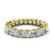 2.03 Ct Certified Real Diamond Aquamarine Bands 14k Yellow Gold Size 5 6.5 7 8 9
