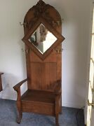 Large Ornate Applied Carving Antique Oak Hall Tree Seat W/lift Up Lid