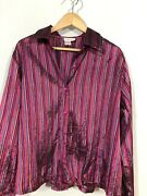 Coldwater Creek 1x Pink Stripe Top Blouse Plus Size Long Sleeve Nice Summer