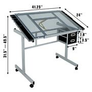 Drafting Table Adjustable Angle+hydraulic Chair Salon With Rolling Wheels