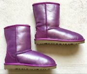 Ugg Boots, Girls Size 4, Purple, Shimmery, Short, Shearling, Nwob