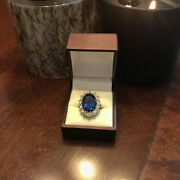 3.48 Carat Real Diamond Blue Sapphire Ring 14k Solid White Gold Size 5.5 6 7 8 9
