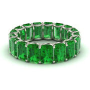 3.40 Carat Real Green Emerald Engagement Rings 14k White Gold Ring Size 6 7 8 9