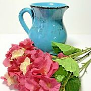 Farmhouse Style Pitcher Made In Italy Turquoise Stoneware Table Pottery
