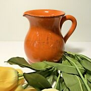 Farmhouse Style Pitcher Made In Italy Orange Stoneware Table Pottery