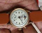 Vintage Rare Swiss Made Record Calender With Moon Face Watch. Refinished Dial.