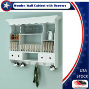 Wooden Kitchen Wall Cabinet With Drawers White 3and039 X 8.9 X 2and039 4 Mdf And Pine Wood