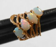 4 Red Fiery Opals 14k Yellow Gold Ladies Naturalist Organic Large Ring Size 5