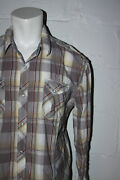 Euc The Buckle Bke Athletic Fit Gray Plaid Pearl Snap Western Casual Shirt Sz Xl