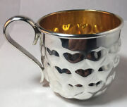Pampaloni Italian Sterling Silver Childs Cup Hearts Mint Condition No Monograms