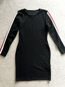 Cameo Rose Stretch Fitted Racer Car Black White Red Stripe Sleeves Dress Small S