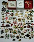 Mamas Estate Vintage-now Huge Christmas Brooch Pin Collection Lot Xb