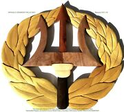 U.s. Navy Command Ashore Badge - Handcrafted Wood Art Military Plaque