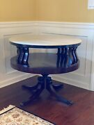 Antique Mahogany Drum Table With Marble Top