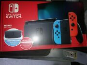 Nintendo Switch V2 Console Neon Red And Blue Joycon W/ Case And 1 Year Membership