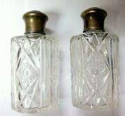 Rare Vanity Antique German 800 Silver Top And Cut Glass Matching Dresser Set.