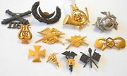 12 Pc Orig Us Military Pins Hat Badges 1870-1920s Ww1 Ww2 Medical Indian Wars