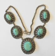 Outstanding Vint Southwestern Lrg Medallion Sterling Silver Turquoise Necklace