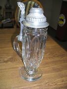 Very Rare Bohemian Antique Cut Glass Beer Stein With Ornate Metal Lid