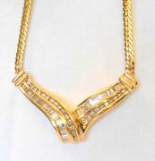 Italian 14k Yellow Gold Pendant Necklace 2 Ctw Round And Baguette Diamonds