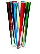 Signed X Special Giant Murano Art Glass Multi Coloured Dimensional Vase 3.1kg