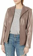 Cole Haan Womens Leather Wing Collared Jacket