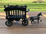Vintage Overland Cast Iron Circus Cage Wagon, Horse, Toy, Antique