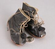 Antique Black Leather Doll Shoes With Pom Poms F/ Large French Or German Dolls