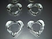 8 Clear Acrylic / Lucite Heart Shaped Napkin Rings 3/4 X 2 5/8 Nwop