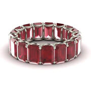 3.40 Carat Real Ruby Wedding Band Solid 950 Platinum Ring For Women Size 5 6 7 8
