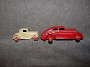 2 Antique Unknown Maker Diecast Lead Cars With Red Wood Rims Or Hubs