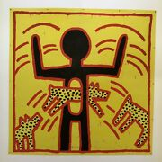 Fine Keith Haring And039untitledand039 Dogs Jumping Through Body Lithograph Art Print