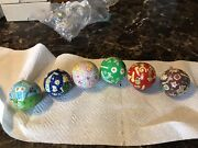 6 Vintage Italian Thick Fabric Hand Painted Childrens Christmas Ball Ornaments