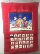Vintage Cranston Fabric Quilted The First Christmas Nativity Advent Calendar