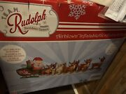 17 Ft. Huge Lighted Christmas Inflatable Santa In Sleigh W/8 Reindeer And Rudolph